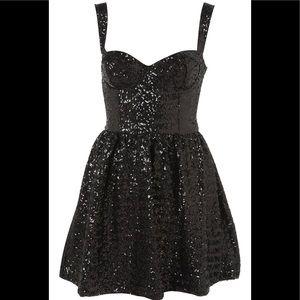 Topshop Black Sequin Prom Dress